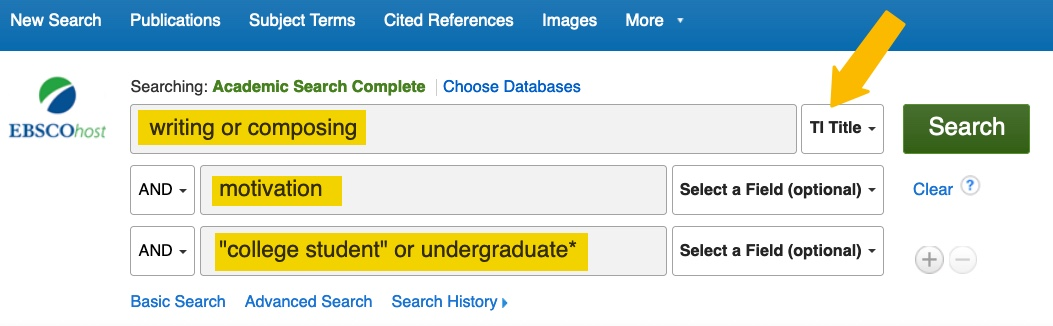 screenshot of a search in Academic Search Complete