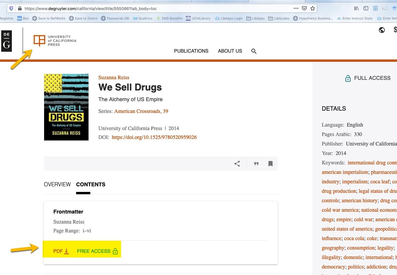 screenshoot of ebook from University of California Press