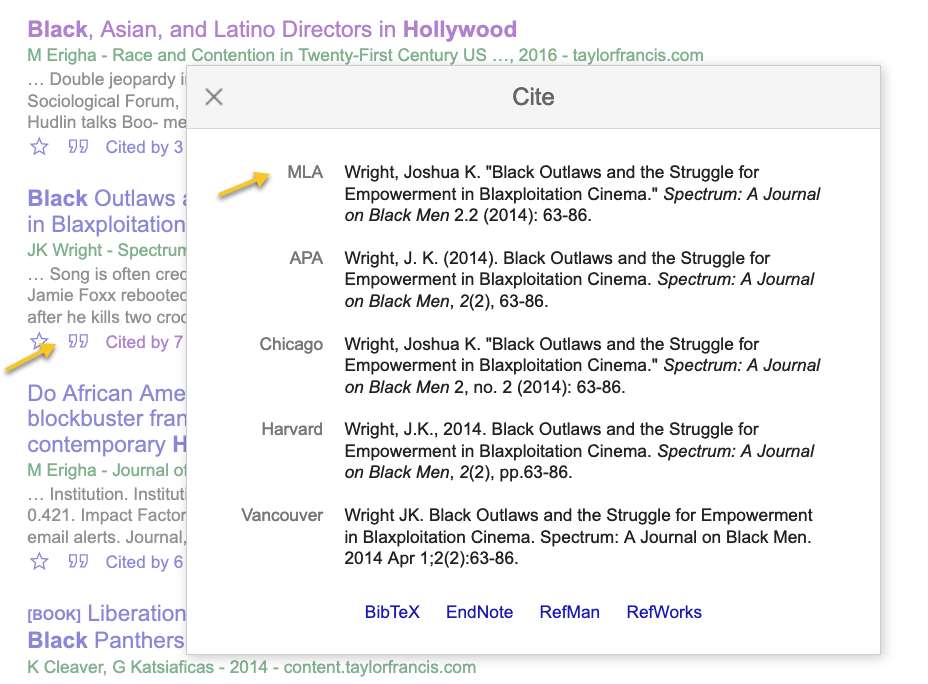 screenshot MLA citation from Google Scholar