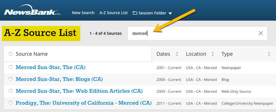 Screenshot - Searching in A-Z Source List