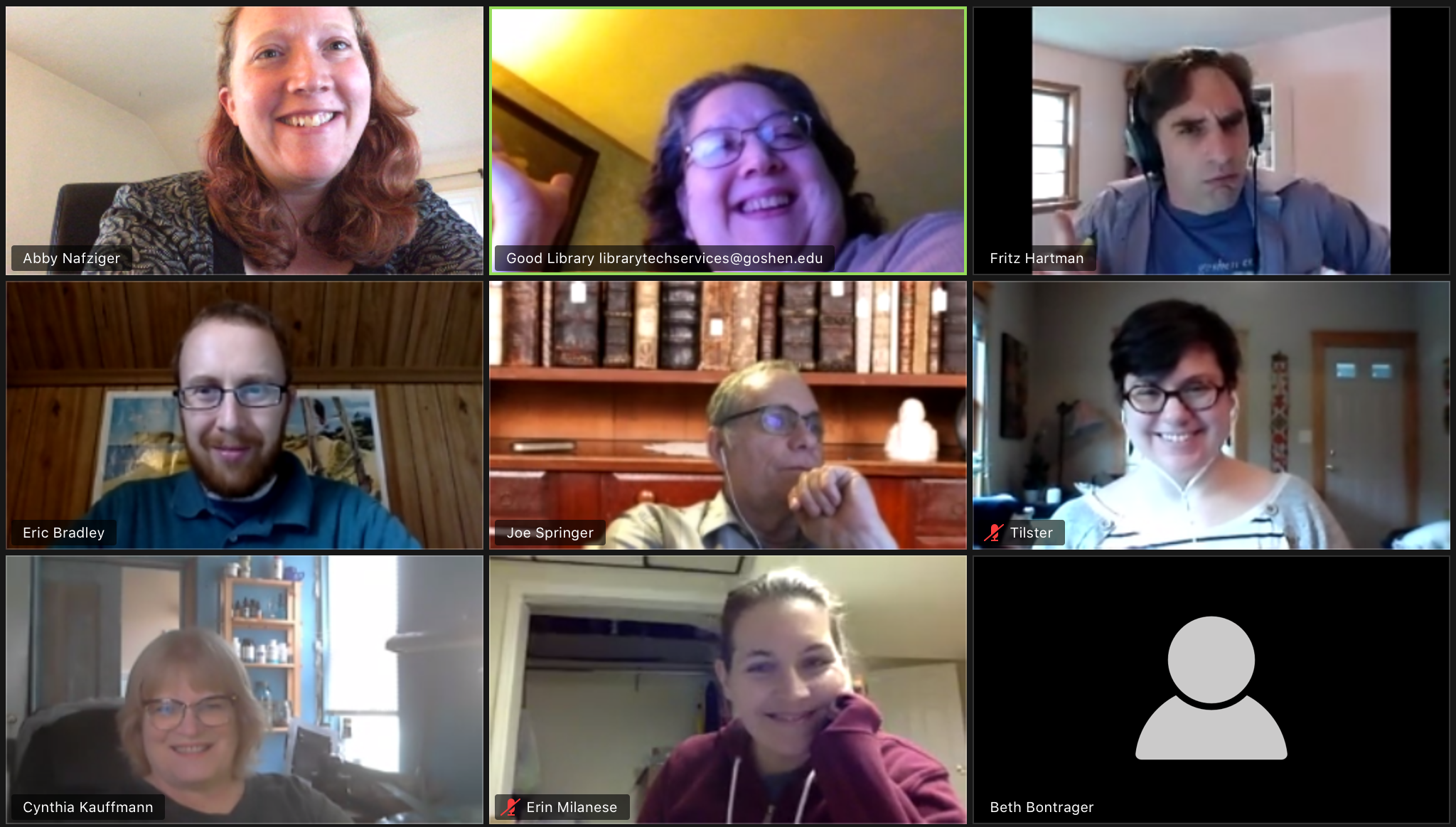 The library building staff during a recent zoom meeting