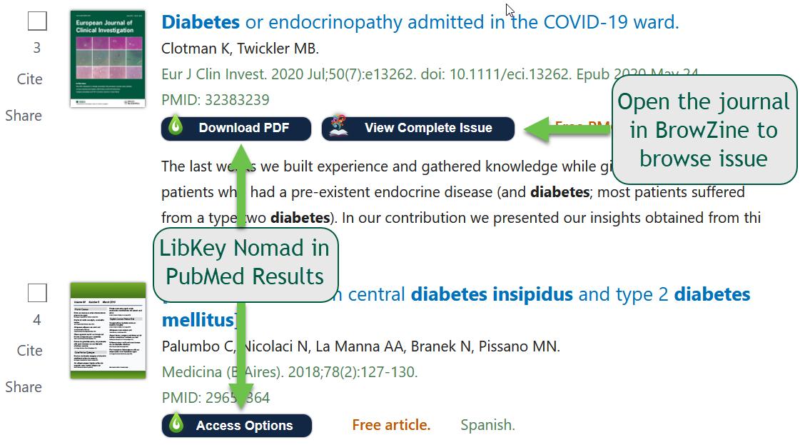 LibKey in PubMed Results