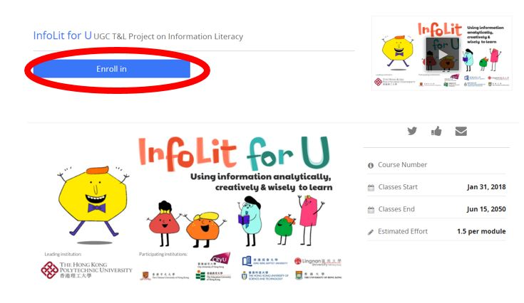 InfoLit for U enrollment process