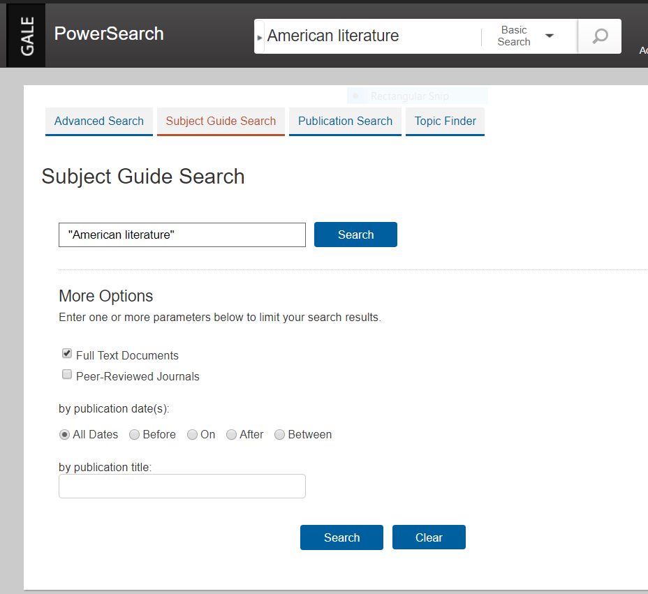 Gale Power Search Subject Guide Search