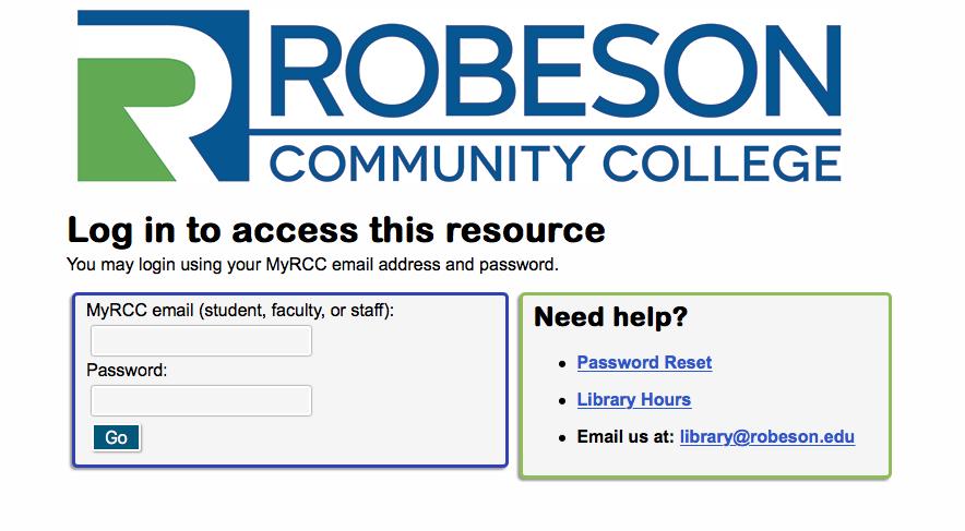 Proxy Server Landing Page; Enter RCC Email & RCC Network Password