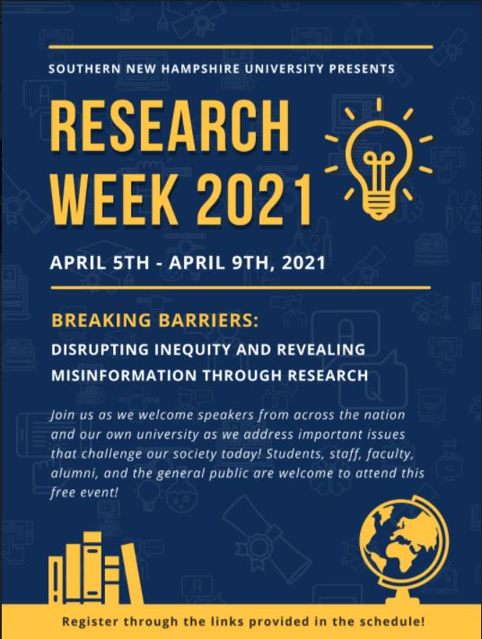 image of Undergraduate Research Week 2021 poster with lightbulb icon