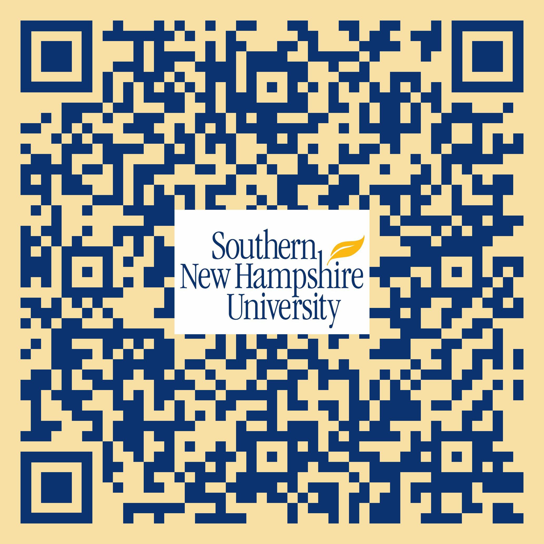 Dark blue & pale yellow QR code with SNHU logo in center