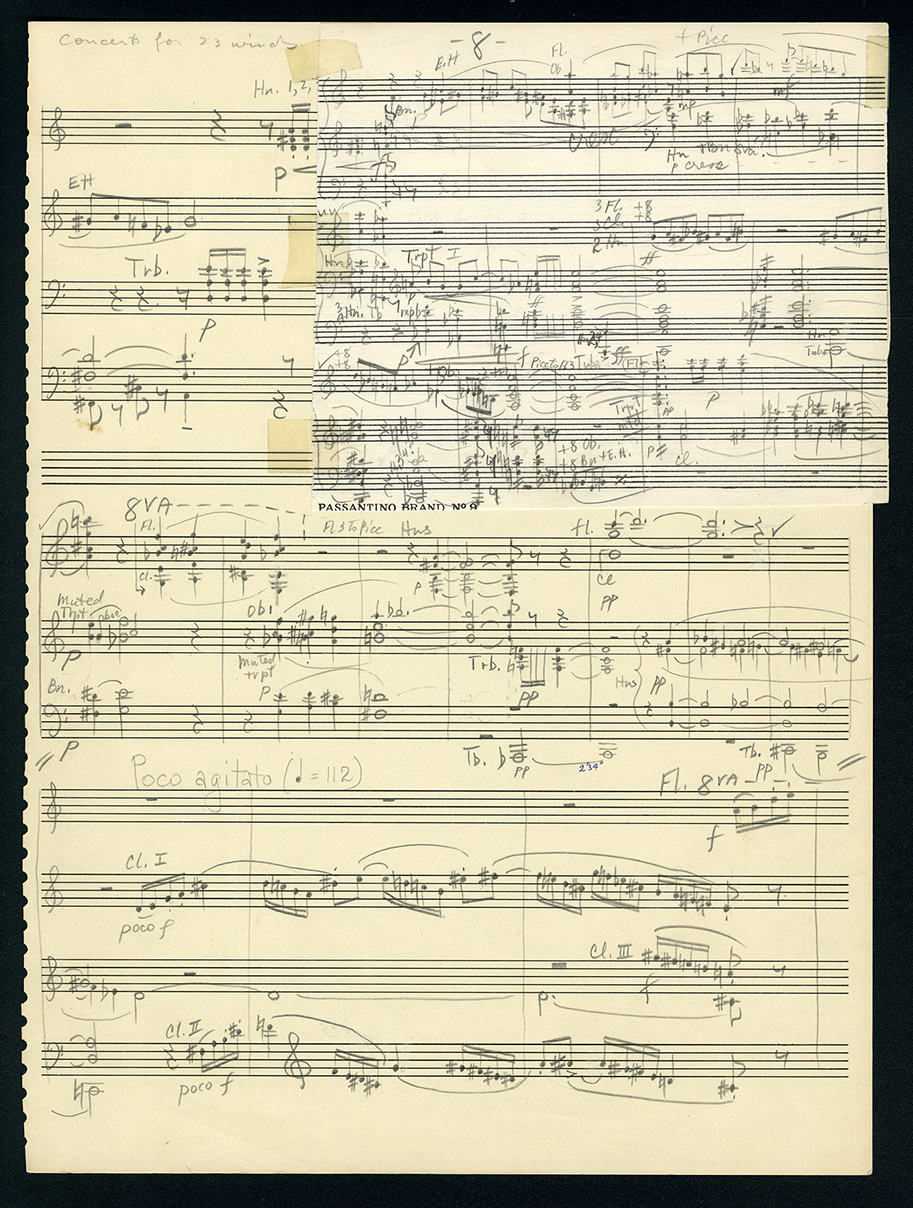 Page from a manuscript sketch for Hartley's Concerto for 23 Winds (1957)