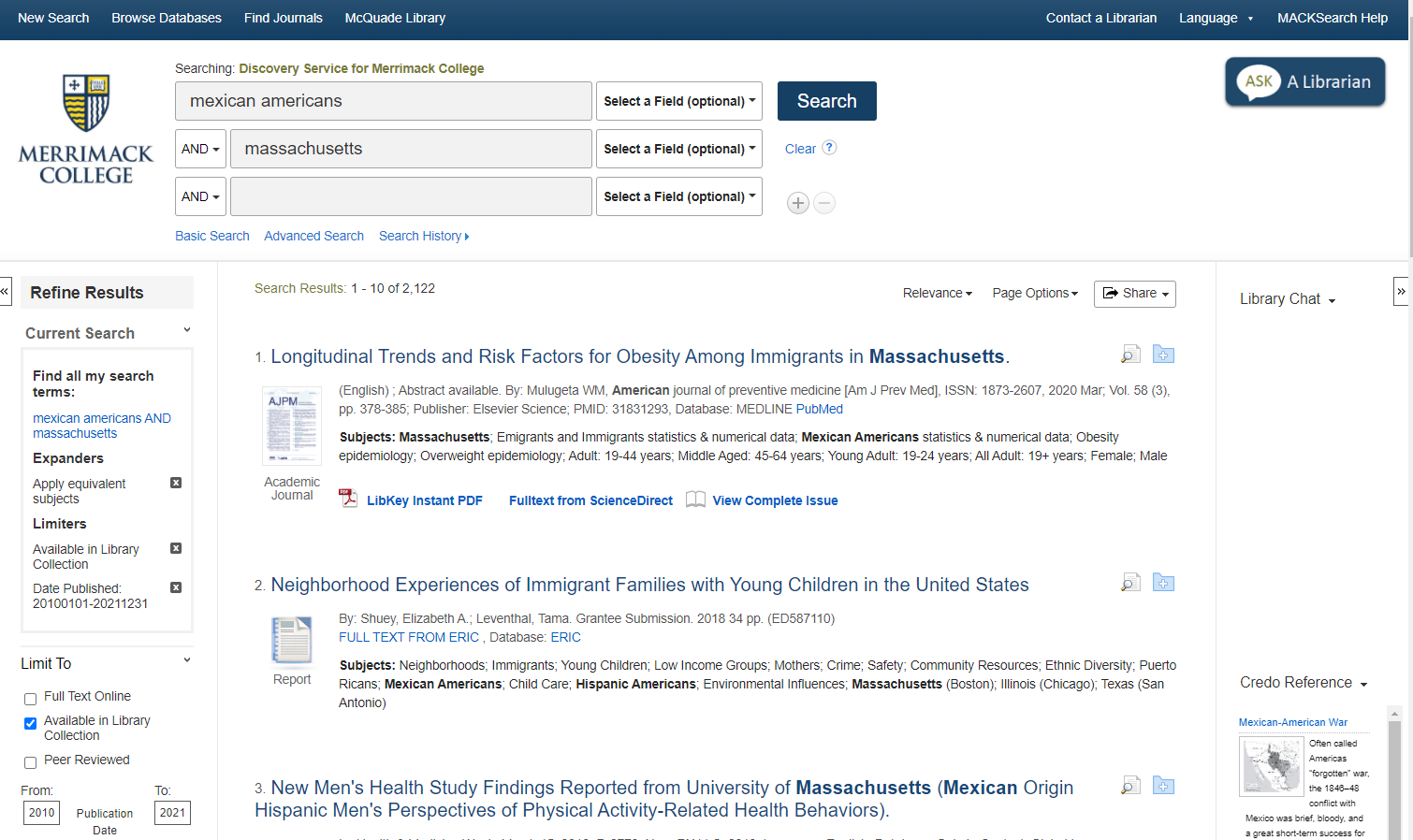 Sample search result screen for MACKsearch