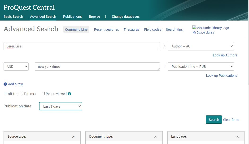 ProQuest Advanced Search example
