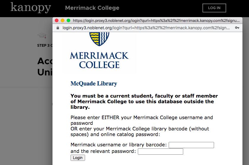 Merrimack/McQuade Library login page