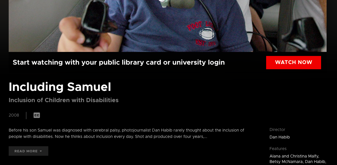 Watch Now screen for Including Samuel - click Watch Now to get to login.