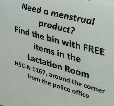 close up of sign in restroom