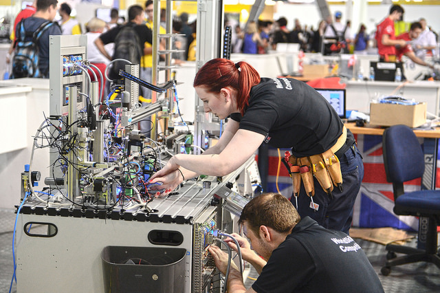 WorldSkills Sao Paulo 2015 day 3, Robyn Clarke and Andy Smith - Mechatronics.