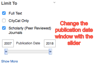screenshot of full text and scholarly journals limiters selected as well as date slider to limit date range