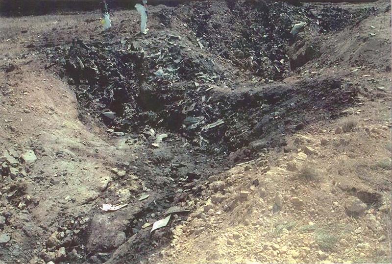 Part of crash site of United Airlines flight 93 in Shanksville, Pennsylvania, on September 11, 2001