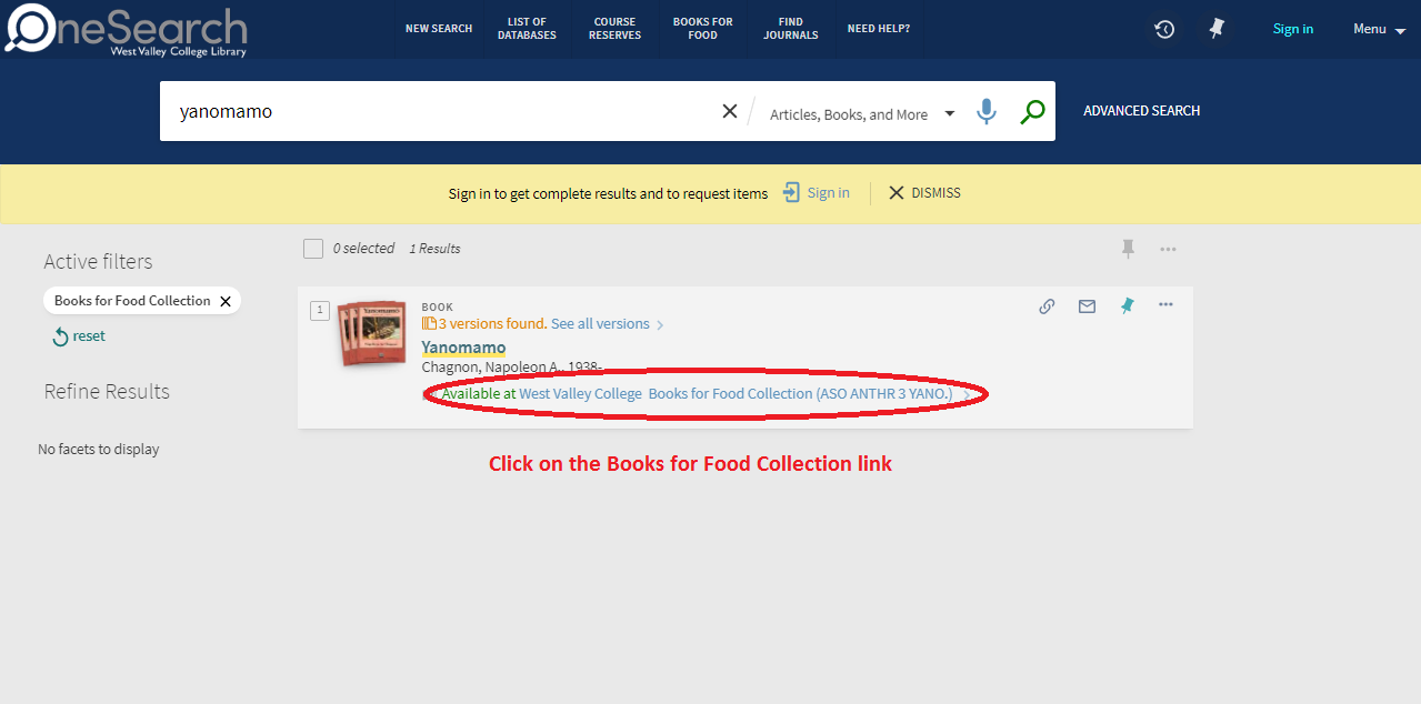 Pick Books for Food Collection link