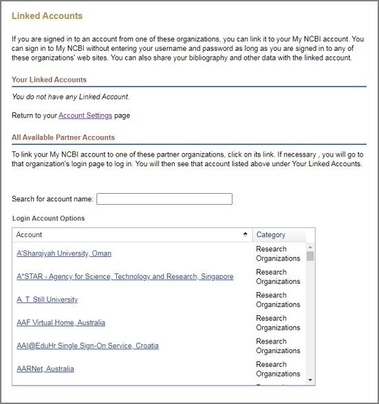 NCBI Linked Accounts page