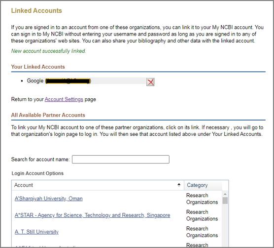 NCBI Linked Accounts success