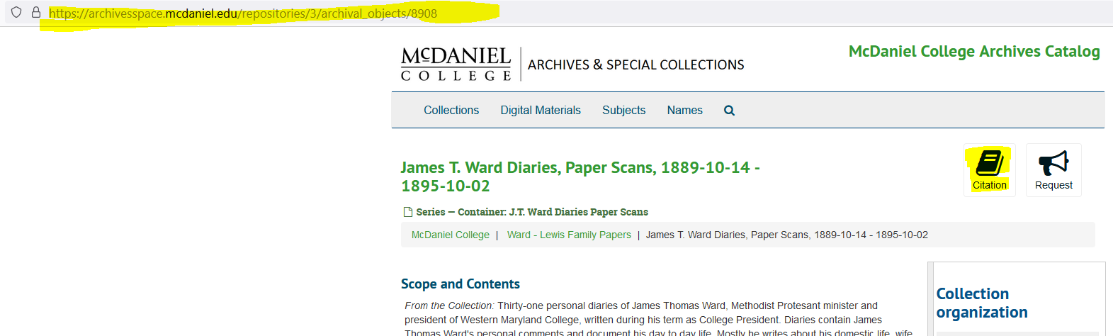 Archivesspace Catalog screen capture