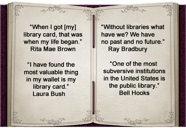 Open book with famous quotes about libraries.