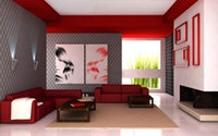 photo of a living room done in red