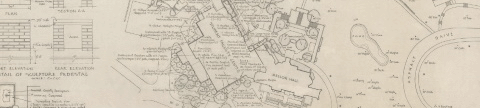 Detail of Planting Plan, Student Faculty Center  - by Shurcliff, Merril, Footit (photo credit: Chatham University Archives & Special Collections)