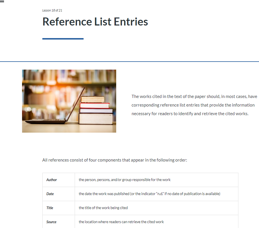 Reference List Entries