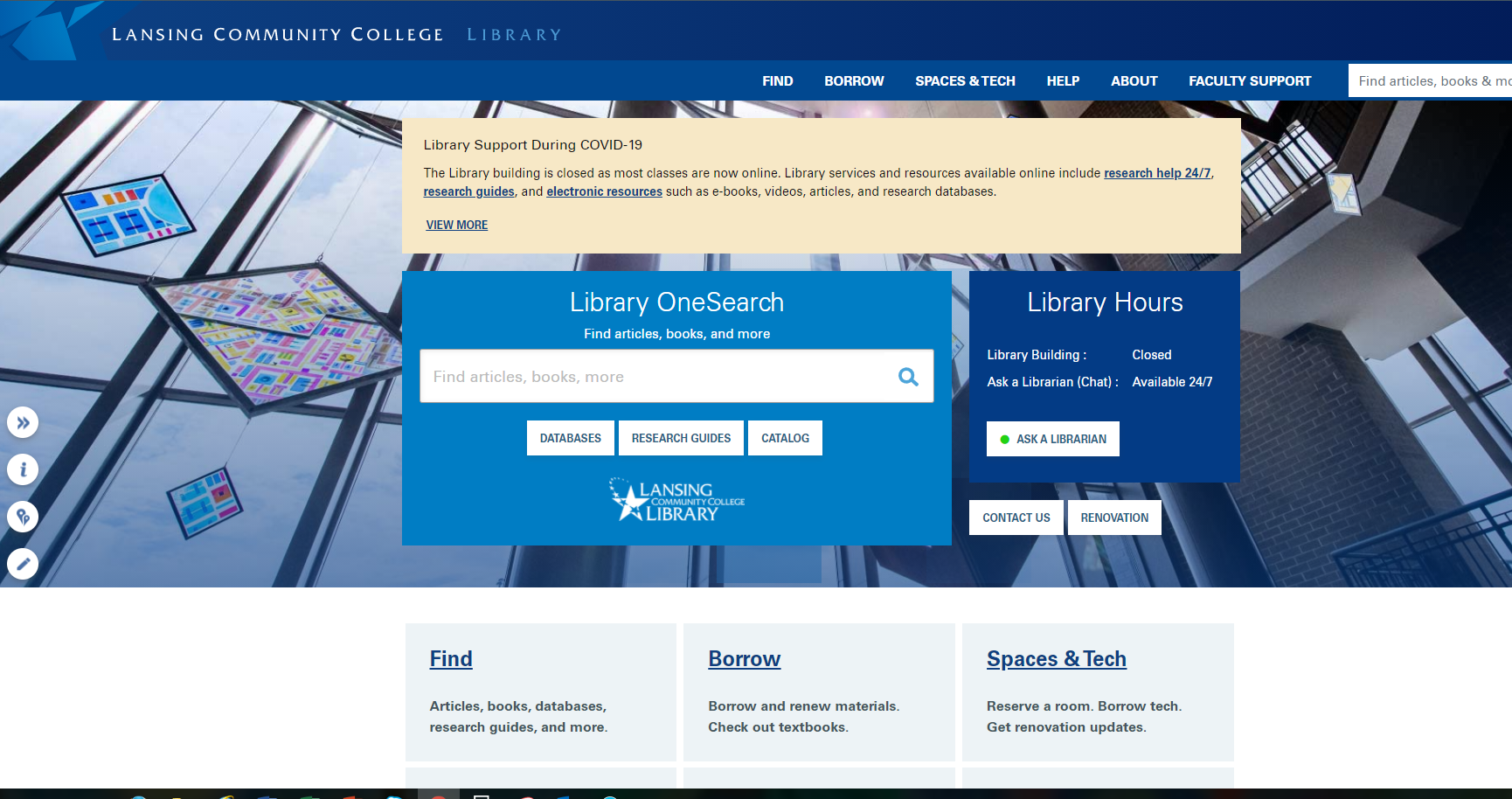 LCC Library homepage with a search box in the middle. Library hours and help.