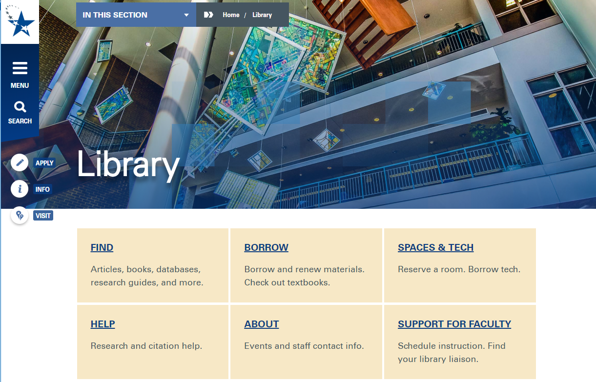 The library homepage has six main sections: Find, Borrow, Spaces & Tech, Help, About, and Support for Faculty.