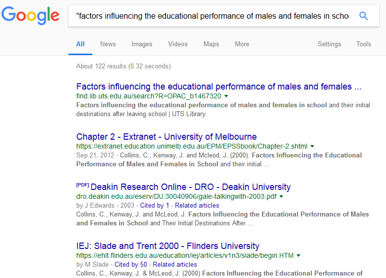 Google search by educational site result list