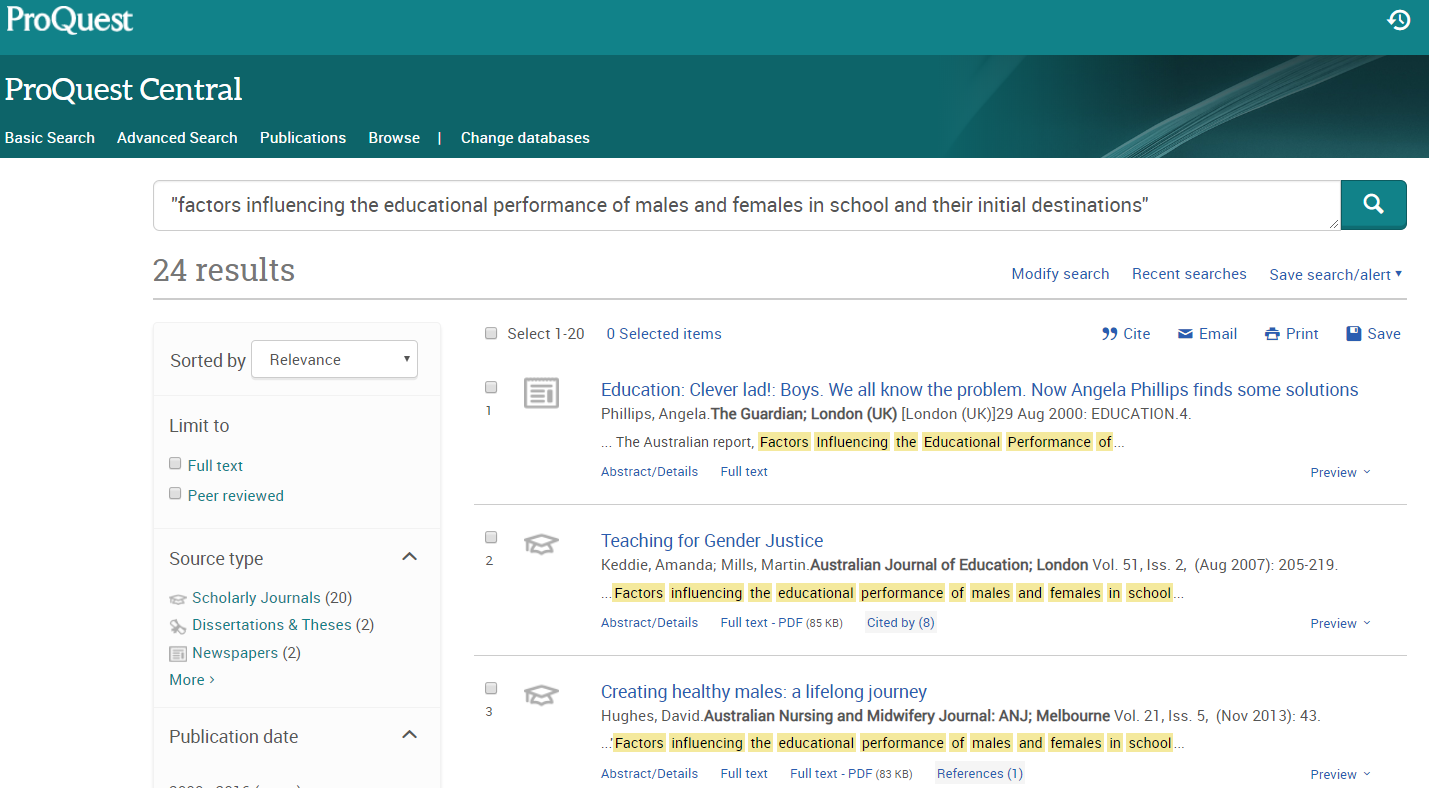 Proquest central result display of items potentially mentioning research output
