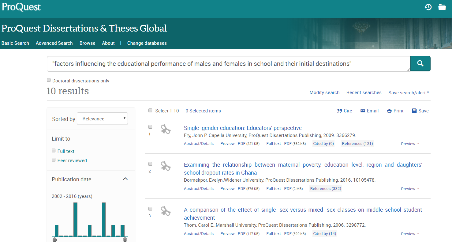 Proquest Dissertations and These result display of items potentially mentioning research output