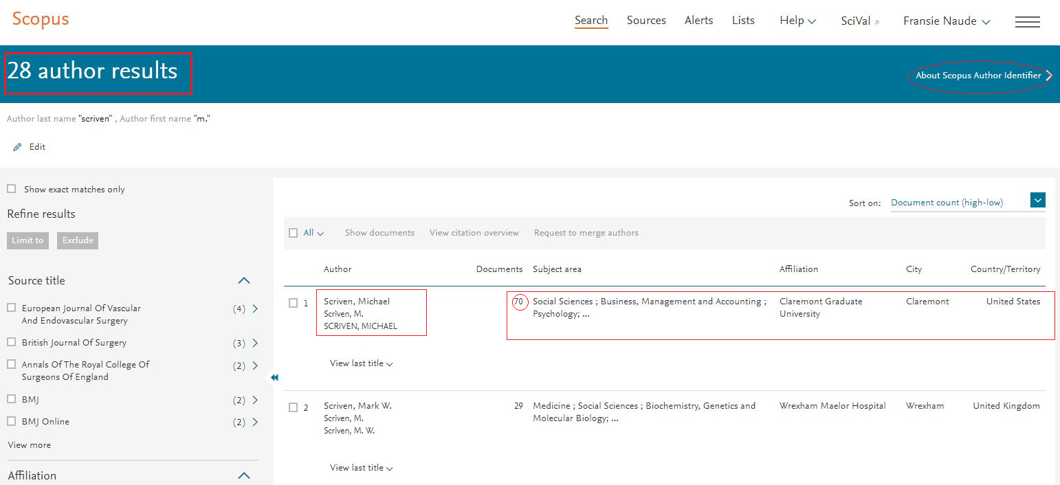Scopus: locate corrent Scopus author profile