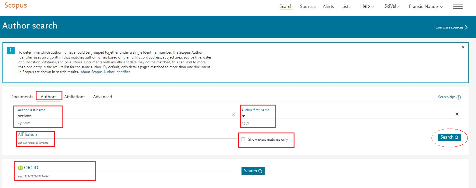 Scopus: search for the author profile making use of any of the available search fields