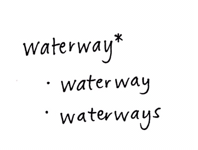 waterway* will search for waterway and waterways