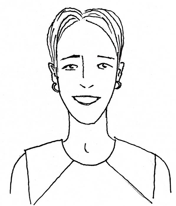 hand drawn portrait of smiling woman with short hair