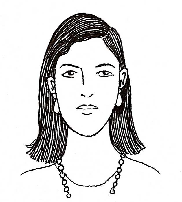 hand drawn portrait of woman with should-length hair and bead necklace