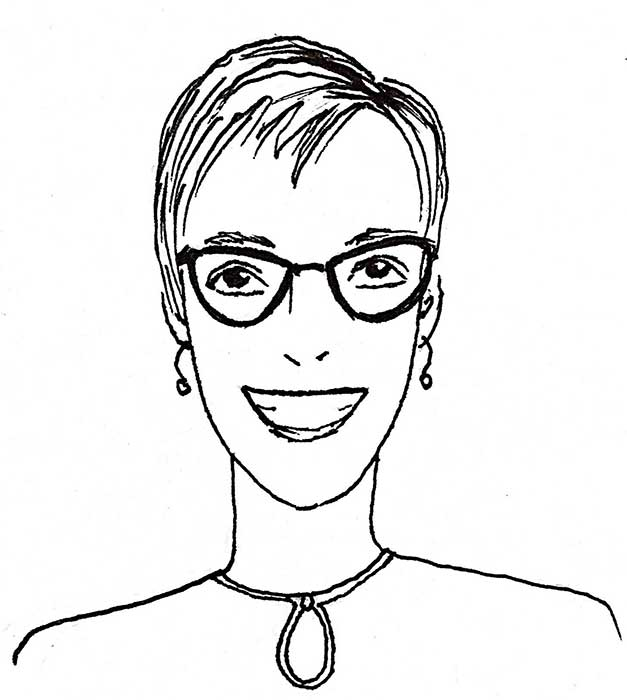 hand drawn portrait of smiling woman with short hair and glasses