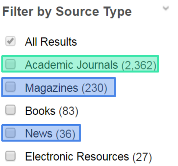 "select the source type you want to see in your results. there are several article types in the ""filter by source type"" menu on the results list page."
