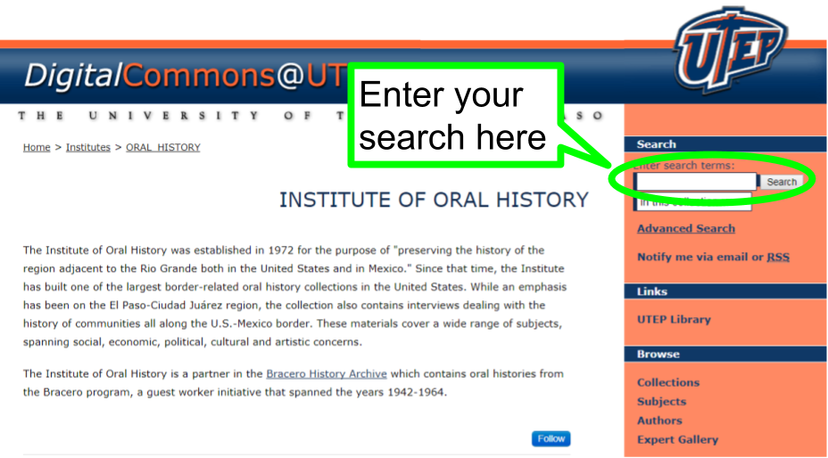 search in the upper right corner of the screen after you click on the link to go to the oral history page