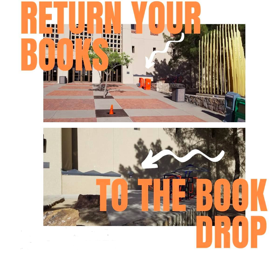 return your books to the book drop in front of the library