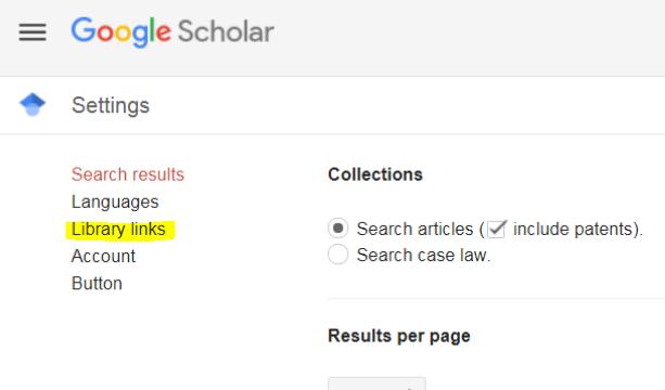 Screenshot of Google Scholar settings screen