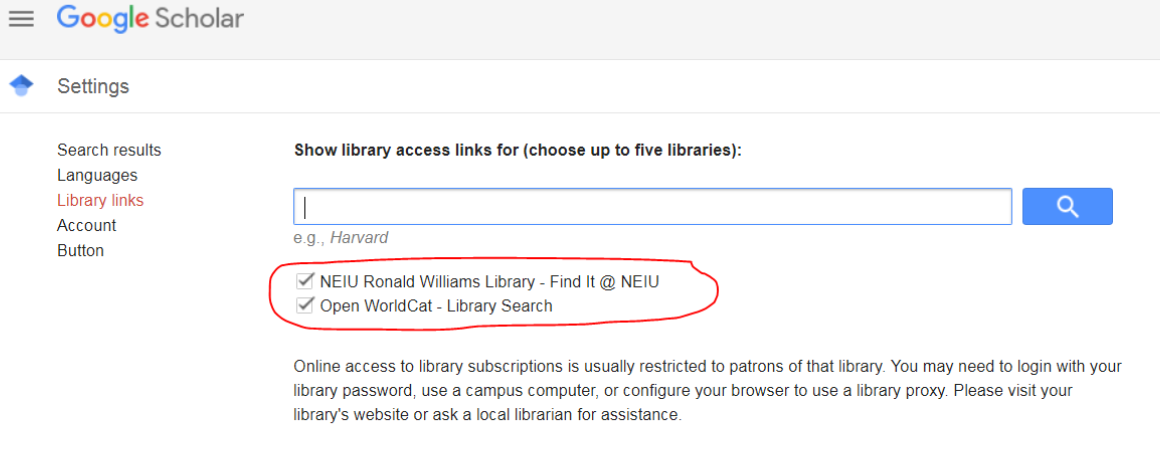 Screenshot of NEIU Library option in Library Links