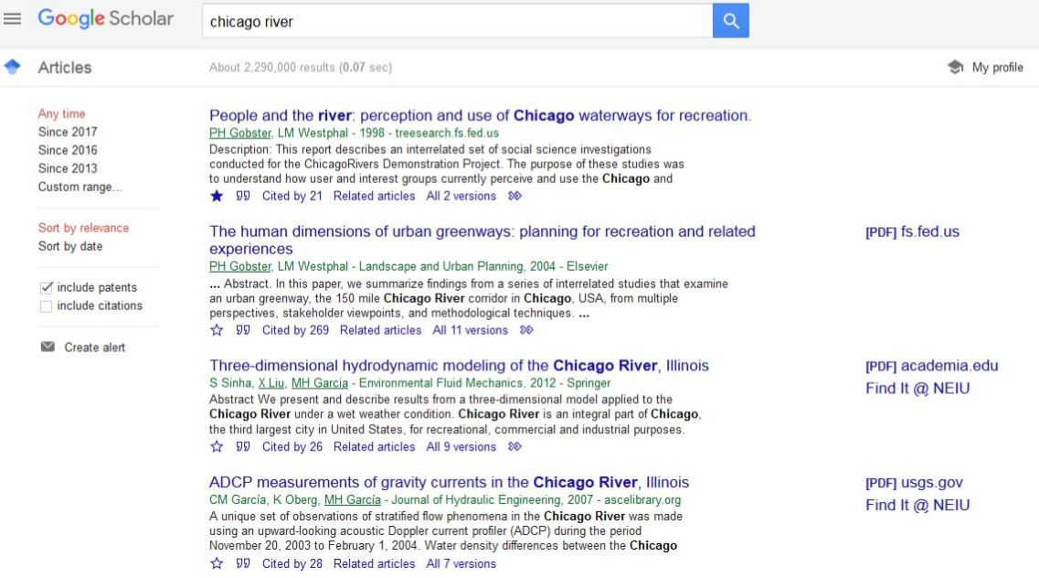 Screenshot of article results in Google Scholar