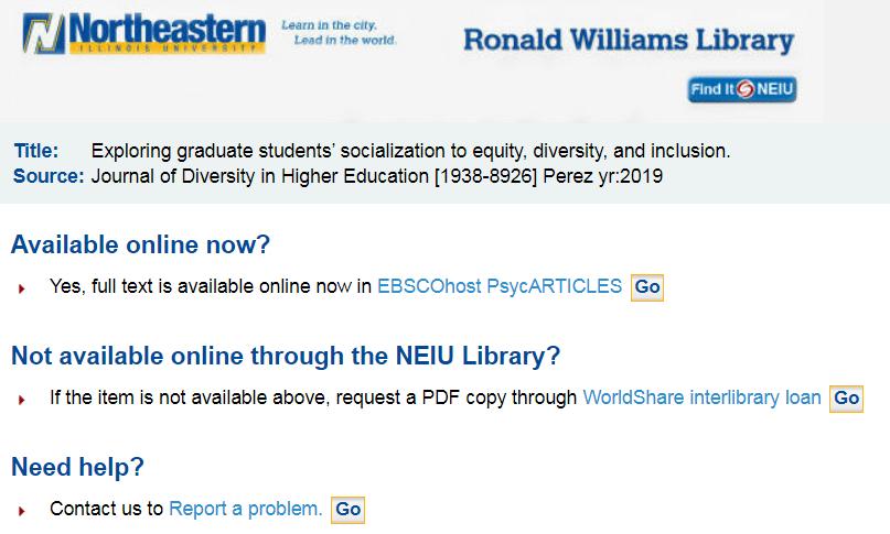 Screenshot of full text at NEIU Library screen