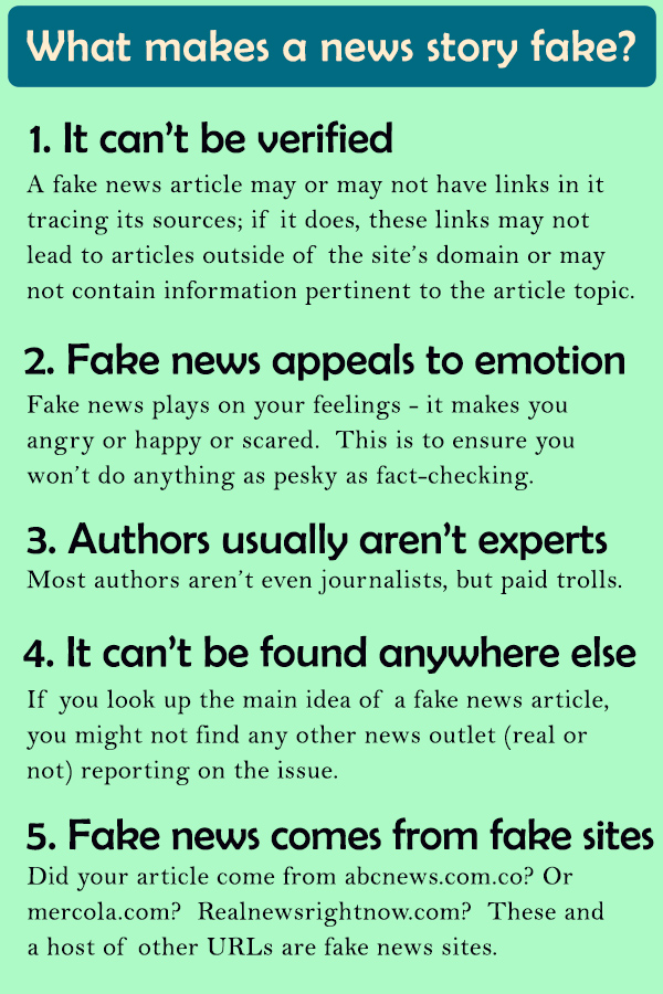 "Image from: ""What makes a news story fake?"" by Albuquerque Public Library"