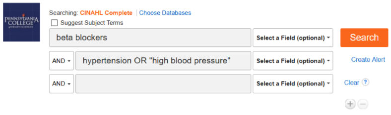 "CINAHL search screen: First line has beta blockers listed, Second line as hypertension OR ""high blood pressure"" listed and the lines have an AND boolean operators betwen them."