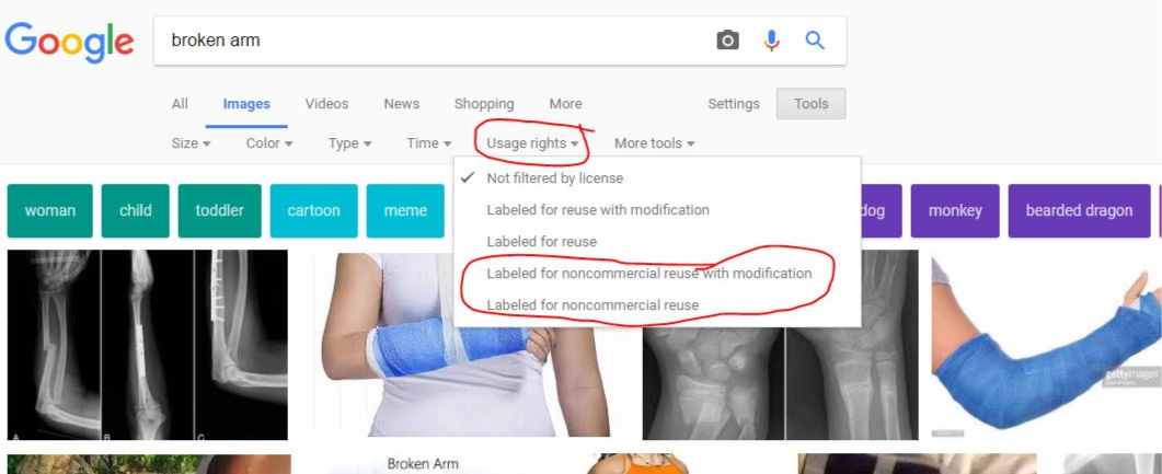 Searching Google Images - Select usage rights to see different usage options.