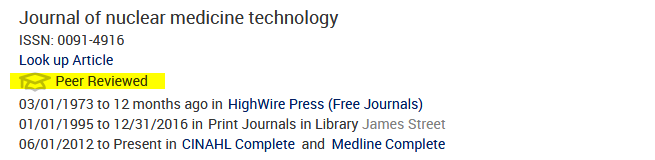 Journal of nuclear medicine technology with the peer reviewed marking highlighted